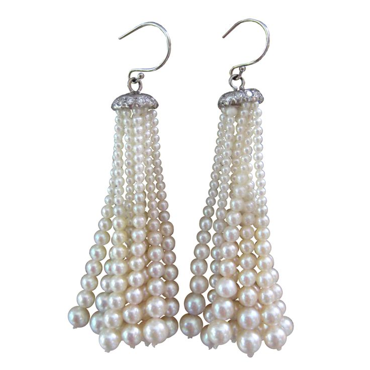 ~Graduated Pearl Tassel Earrings ~*