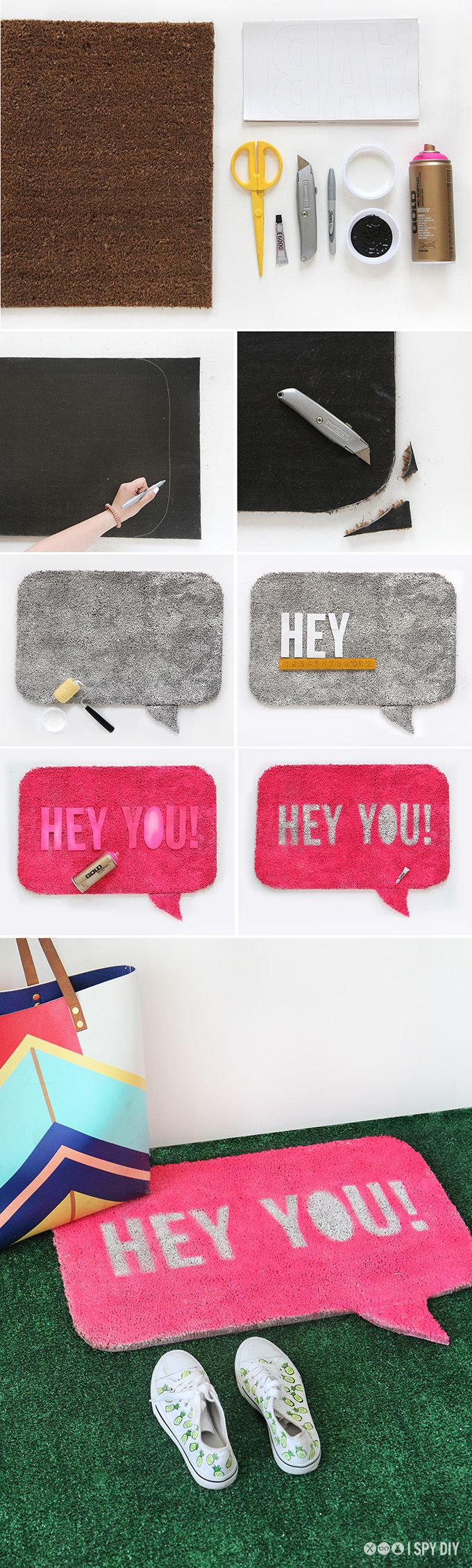 MY DIY | Quote Bubble Welcome Mat | I SPY DIY