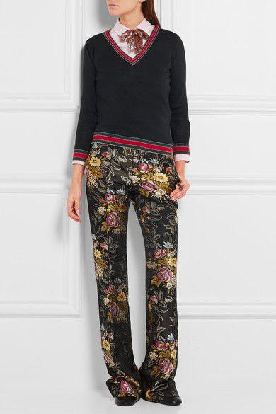 Gucci - Stripe-trimmed Wool Sweater - Midnight blue