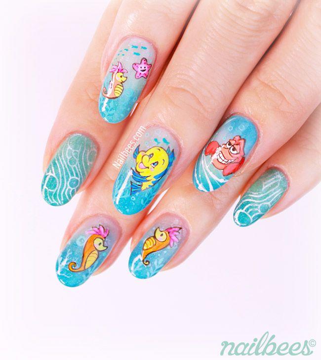 Little Google1 Nail Art: Ariel Flounder Nail Art