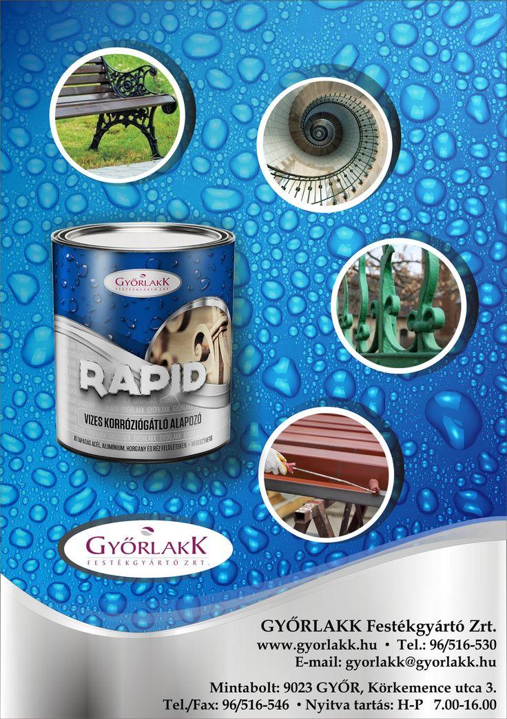 Győrlakk Rapid Vizes Korróziógátló Alapozó. Évtizedek óta Győrben gyártjuk a lakosság és az ipari felhasználók részére a Rapid termékeinket. Termék családunk fejlesztésénél arra törekedtünk, hogy környezetbarát terméket , és egyszerű felhasználhatóságot biztosítsunk a vásárlóinknak, valamint a szakipari mestereknek. Így került a polcokra a GYŐRLAKK RAPID  új terméke RAPID VIZES KORRÓZIÓGÁTLÓ ALAPOZÓ! A Győrlakk Rapid vizes korróziógátlóval könnyebb a munka! Környezetbarát, gyorsan szárad!