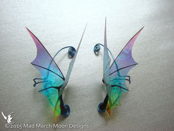 Dragon Wing Ear Cuffs non pierced iridescent by MadMarchMoon