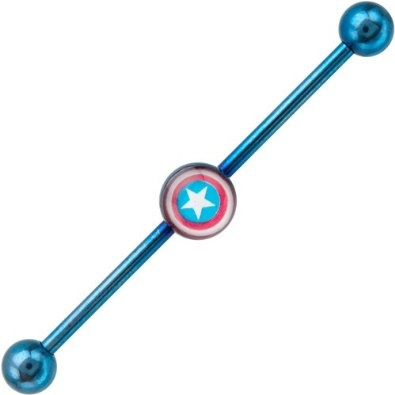 so cool...Amazon.com: Captain America Anodized Industrial Barbell: Jewelry