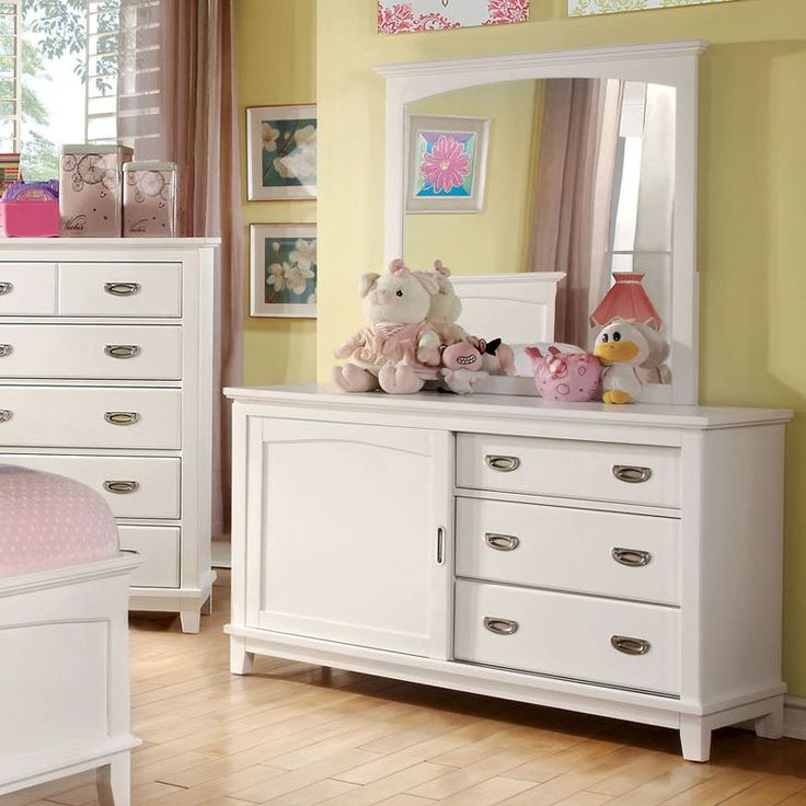 Furniture of America Alana Marie Inspired Sliding Door 3 Drawer Dresser - White - ENLB1426