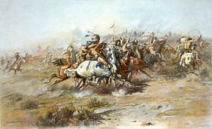 Charles Marion Russell - The Custer Fight (1903).jpg Battle of the Little Bighorn part of the Sioux War 1876-77