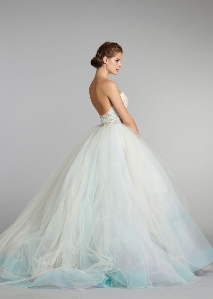 Pastel colored tulle wedding dress by Lazaro