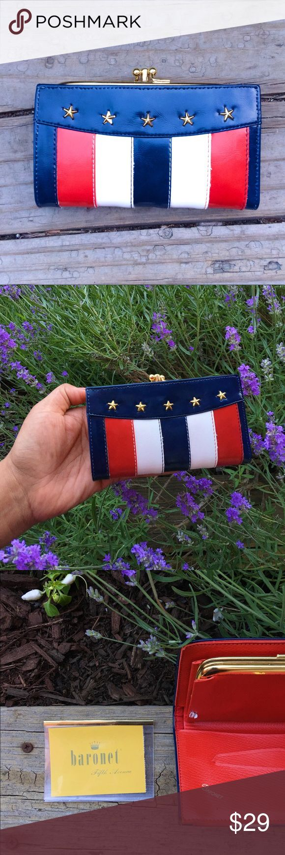 """New Baronet Stripes Stars leather Wallet Coin Bag BNWT Baronet Stars & Stripes Red White & Blue Wallet   This beautiful statement wallet is a well crafted piece with a coin compartment, space for your bills and receipts. Big enough to accommodate   * Red Leather with silver accents  * Brand Brand new without tags  * 8.5"""" length x 5.5"""" high leas than 1/4-3/4"""" width   * Zippered   I am 🙊 ⭐️⭐️⭐️⭐️⭐️ 5-Star rated plus Ship in 48hrs or less 📦! baronet Bags Wallets"""