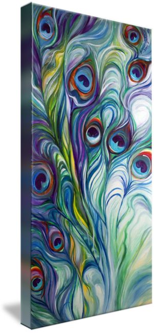 """PEACOCK ABSTRACT"" by Marcia Baldwin, Shreveport, Louisiana // An original oil painting by Marcia Baldwin. This abstraction of the peacock feathers has dynamic design and exciting color. The original has been sold, but please enjoy fine prints from this website. ~ Thank you // Imagekind.com -- Buy stunning fine art prints, framed prints and canvas prints directly from independent working artists and photographers."