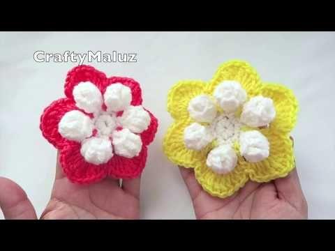 Crochet Flor Tejida Bonita Y Muy Facil De Hacer Flor Tejida