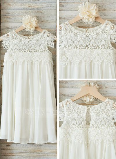 [US$ 59.99] Empire Knee-length Flower Girl Dress - Chiffon/Lace Short Sleeves Scoop Neck With Ruffles