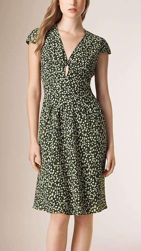 Verde floresta escuro Vestido de seda com estampa de folhas - Imagem 1