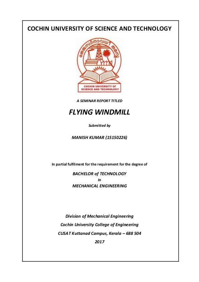 Cochin University Of Science And Technologya Seminar Report Titledflying Windmillsubmitted Bymanish Kumar 15150226 I University Of Sciences Bachelor Of Technology Science Technology