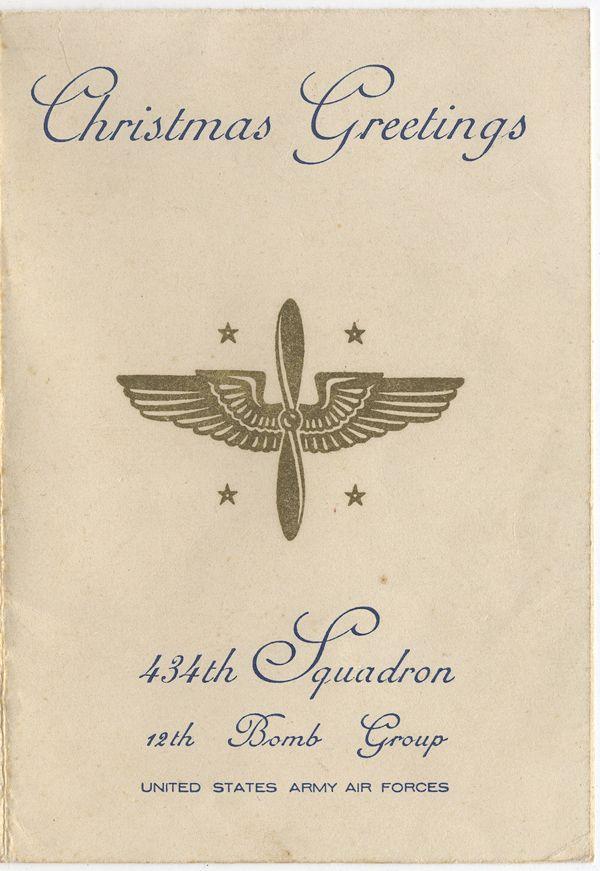 Beautiful WWII 434th BS, 12th BG, 12th AF, 1943 Christmas Card