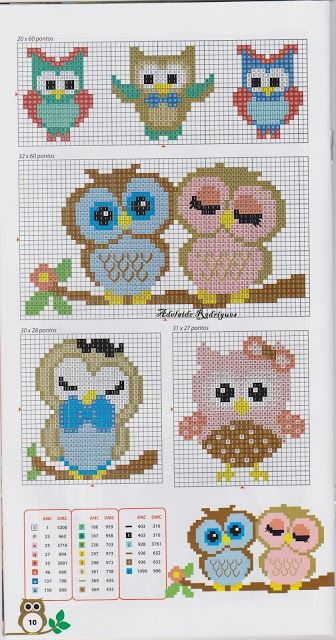 Owls perler bead pattern ~ adapt for knitting
