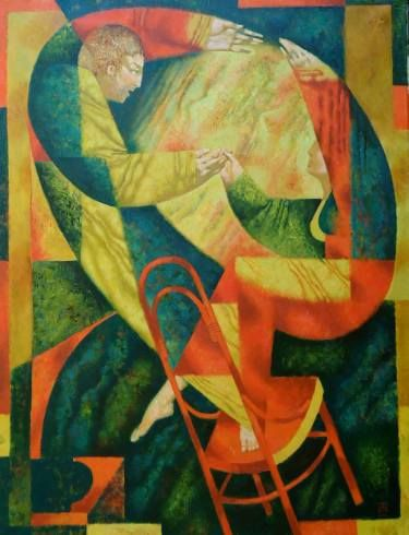"""Pavel Antipov; Painting, """"Dance on a bent-wood chair"""" #art"""