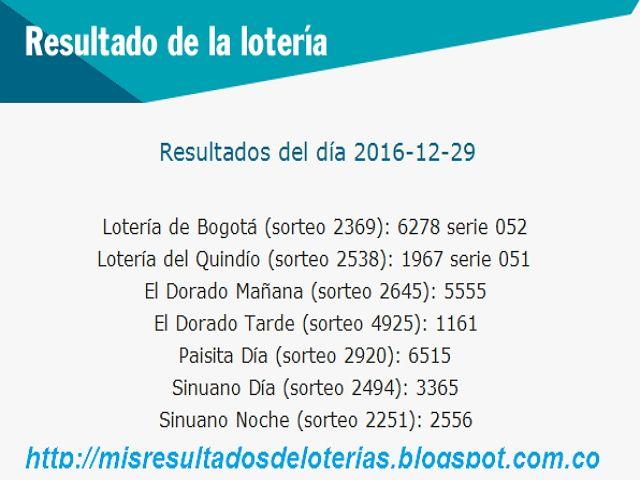 """Resultado de la Lotería: """"Como me gano la loteria hoy""""-Resultados de Diciem..."""