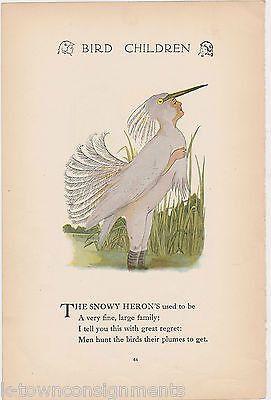 HERON & PARTRIDGE VINTAGE BIRD CHILDREN M.T. ROSS GRAPHIC ILLUSTRATION PRINT