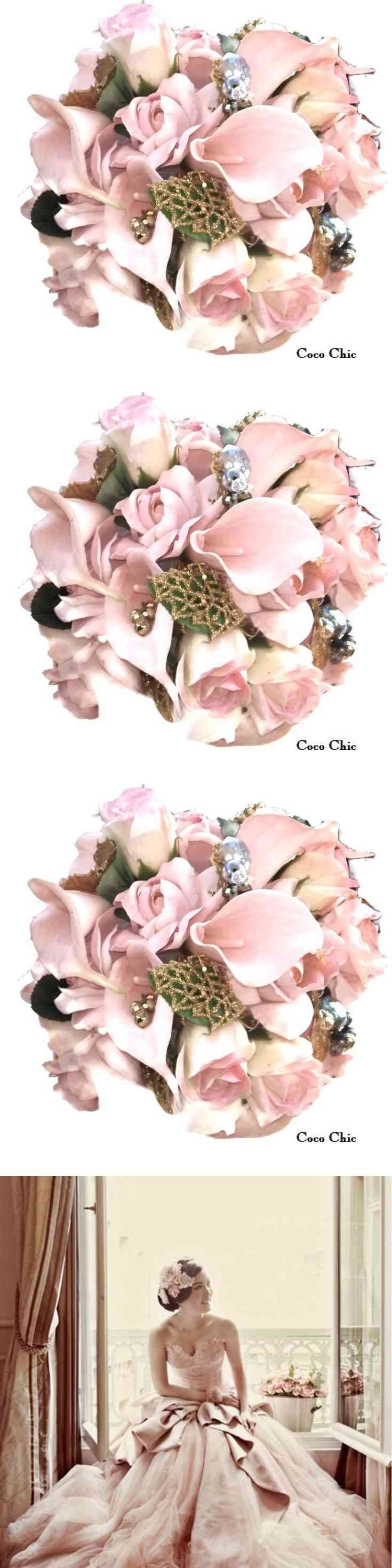 Spring Bridal Bouquet, Wedding Flowers, Pink Roses, Brooch Bouquet, All Hand made Silk flowers adorned with rhinestones and crystals, silk roses are all hand made.  Available  Corsages Bridesmaids Bouquet Boutoneere (via pushapin.com)