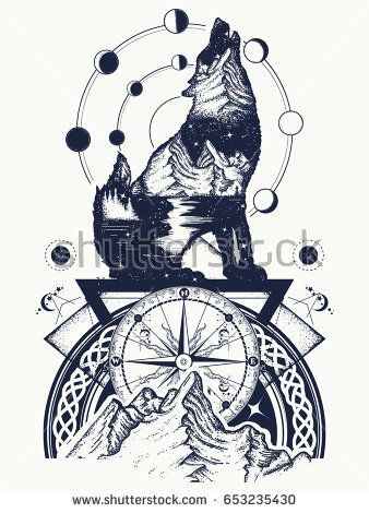 Wolf and mountains double exposure tattoo art. Symbol tourism, travel, adventure, outdoor. Wolf howls, mountain and night sky t-shirt design