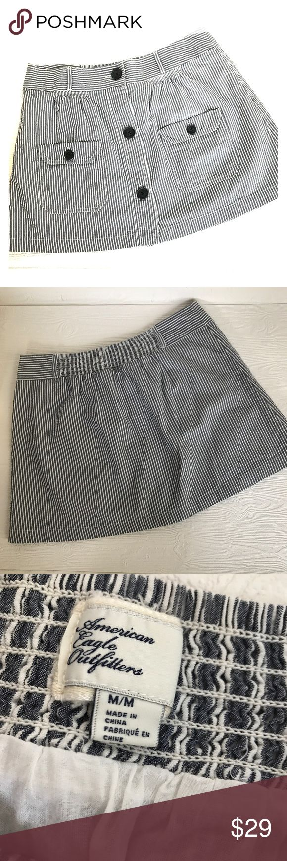 American Eagle 🦅 Stripe Sear Sucker Mini Skirt Excellent Condition  Sear Sucker 100% Cotton  Elastic Waist A Line American Eagle Outfitters Skirts Mini