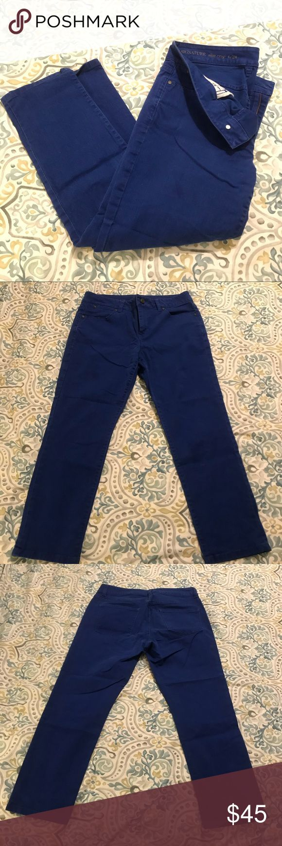 "Blue High Wasted Cropped Pants ""Signature Slim Crop"" high wasted pants from Talbots. Beautiful royal blue color. Like new condition, no flaws.  I wish these fit me, I would wear them every day! True wardrobe staple! 98% Cotton 2% elastane - structure with stretch!  Approximately 15"" across waist, 9"" rise, 24"" inseam, 6.5"" leg opening.   Please feel free to ask any questions and make any offers using the offer button! There are many similar sized items in my closet so bundle to save! Thank…"
