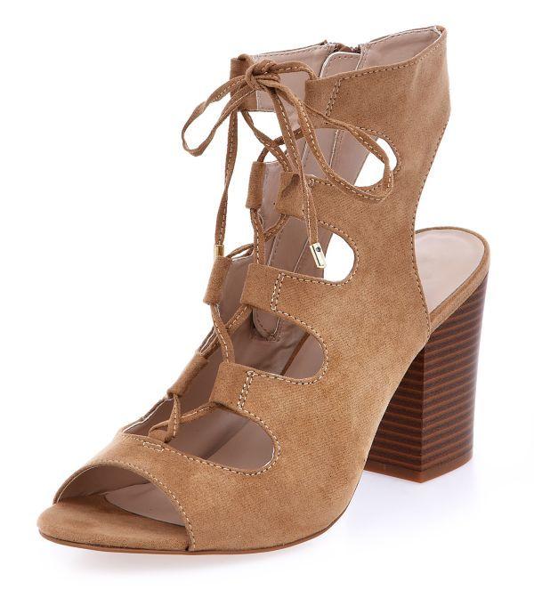 Wide Fit Camel Suedette Peeptoe Ghillie Block Heels  | New Look