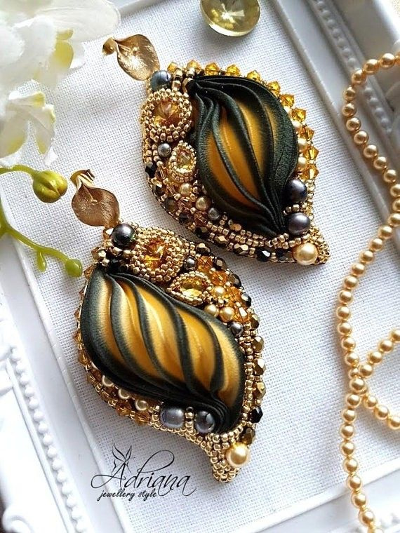 Gold black calla shibori earrings by CrystalPearlStudio