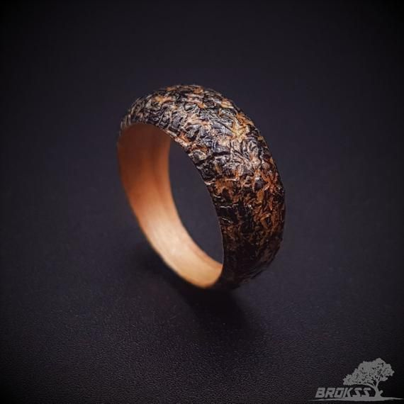 Wooden Ring Cherry Wood Completed By The Wood Stain Technique