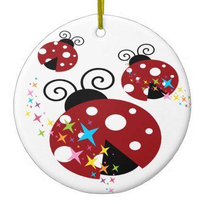 Three red and black ladybug with stars ceramic ornament - kids kid child gift idea diy personalize design