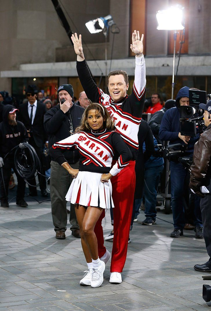 Pin for Later: Look Back at Last Year's Best Celebrity Halloween Costumes! Tamron Hall and Willie Geist as the Cheerleaders of Saturday Night Live Willie Geist and Tamron Hall dressed as the cheerleaders from SNL.