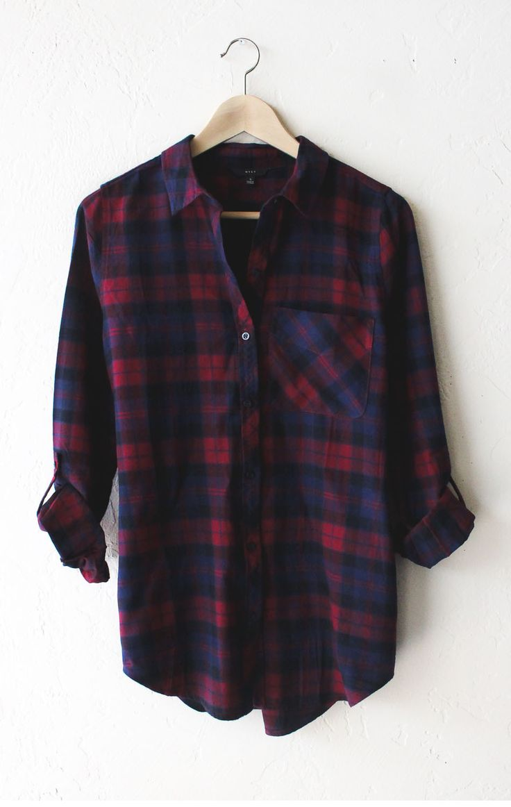 Oversized Plaid Flannel Shirt - Burgundy