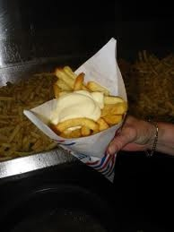 Zak patat met - Dutch french fries served with mayo! Yep the only way to eat them!!