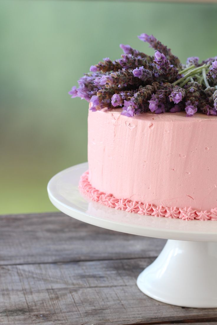 Vanilla sponge and buttercream icing topped with lavender from our garden
