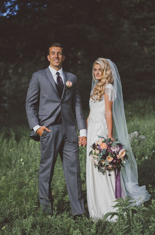 beaded modest wedding dress with flutter sleeves from alta moda.  -- (modest bridal gown) --