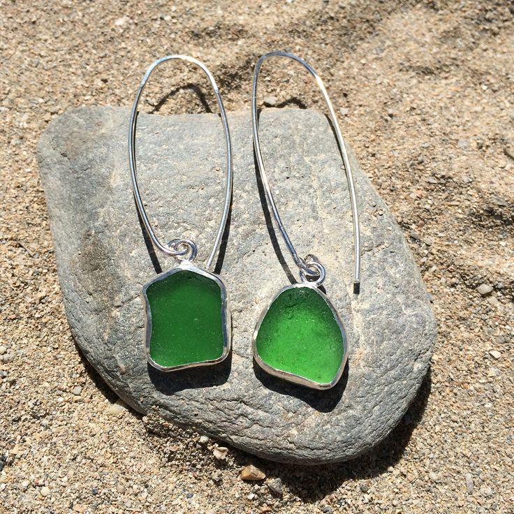 Handmade sterling silver green seaglass drop earrings.  www.etsy.com/uk/shop/JohannaCarrJewellery