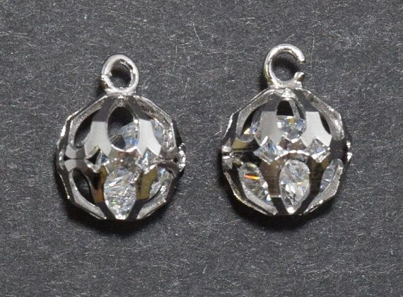 Cubic Ball Brass Pendant, Wedding Jewelry, Jewelry Supplies, Jewelry Making, Polished Rhodium - 1pcs / UT0001-PR