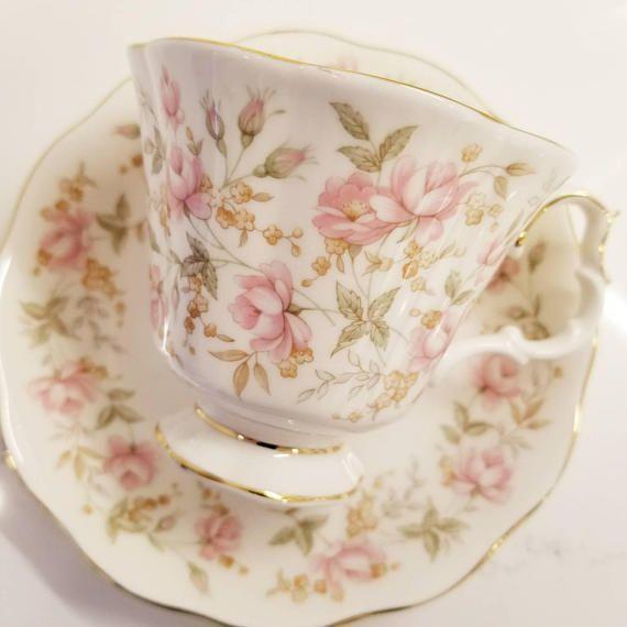 Vintage Tea Cup and Saucer /ROYAL ALBERT Pink Brocade Vintage