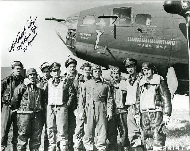 """May 17, 1943: the B-17 F-10-BO, """"Memphis Belle"""", USAAF Serial No. 41-24485, accomplished its 25th and last combat mission."""
