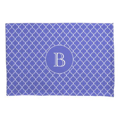 Royal Blue Quatrefoil Pattern Custom Monogram Pillowcase - chic design idea diy elegant beautiful stylish modern exclusive trendy