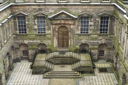 The Palladian courtyard at Lyme Park, Cheshire, designed by Italian architect Giacomo Leoni and built 1727-1734, with chequered paving added...