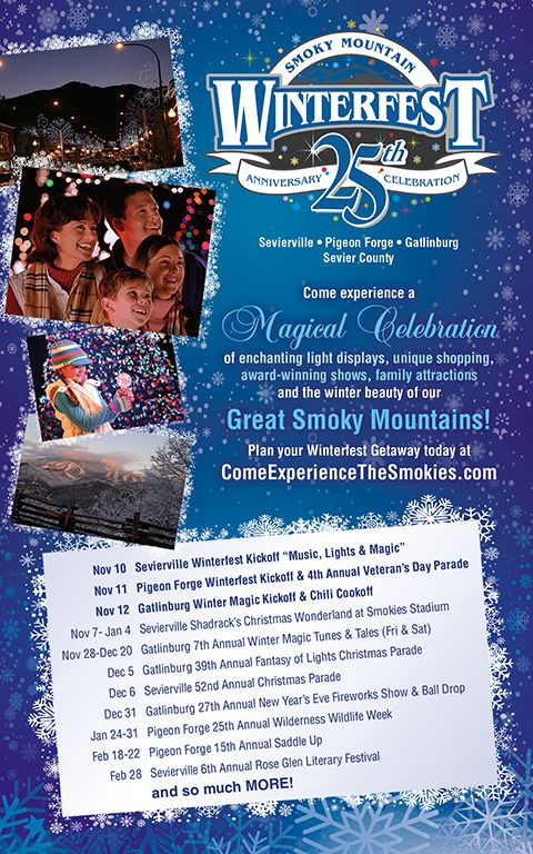 Come celebrate our winterfest kickoff starting tomorrow! Sevierville, Pigeon Forge & Gatlinburg! (11/09/14)