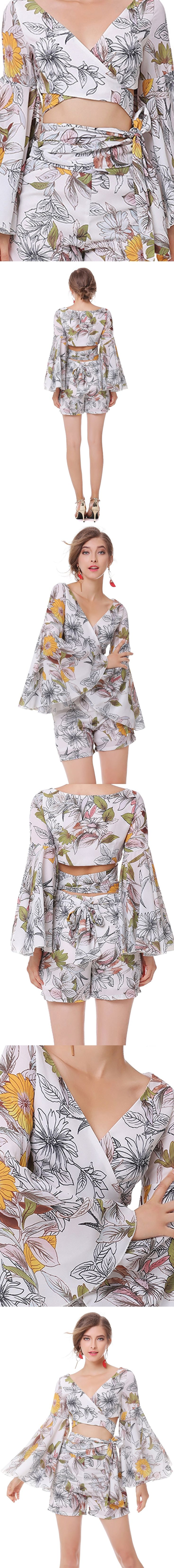 Timmiury Summer Women Floral Crop Tops+Shorts Chiffon Sexy Two Pieces Sets Boho Long Flare Sleeves Cropped Beach Suits