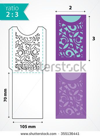 Die cut pocket envelope template with cutout pattern. Wedding invitation pocket envelope. Die cut envelope for an invitation, rsvp, save the date card. - stock vector