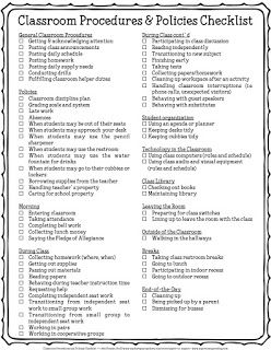 Classroom Policies and Procedures Checklist I recently blogged about how I created policies and procedures that incorporated character education in my classroom. My post also includes a checklist of policies and procedures that teachers can use when planning for the new school year. Use this checklist as you review your own policies and procedures for the upcoming school year if you're a veteran teacher or use it as a guide if you're a new teacher. Hope that it's helpful! 3-5 3-6 4-6 6-8…