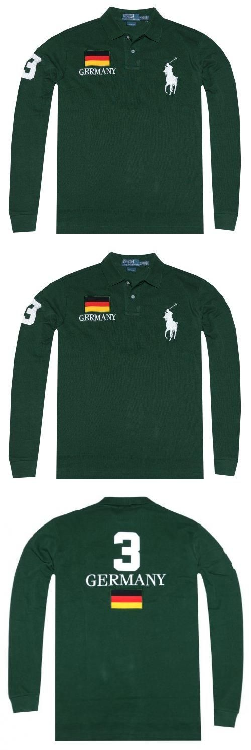 Polo Ralph Lauren Men Custom Fit Country Mesh Long Sleeve Polo-Germany (XL, Pine green) Polo Ralph Lauren Men Custom Fit Country Mesh Long Sleeve Polo-Germany. Embroidered Big Pony accents the left chest along with a country flag and lettering accenting the right chest.. Numeric patch on right sleeve and back, along with country flag and name.. Two button placket. Ribbed collar and armbands.. Unev... #Polo_Ralph_Lauren #Apparel