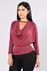 Available in Wine  Cowl Neckline  Dolman Sleeves Back Cutout Made in USA  96% Rayon, 4% Spandex