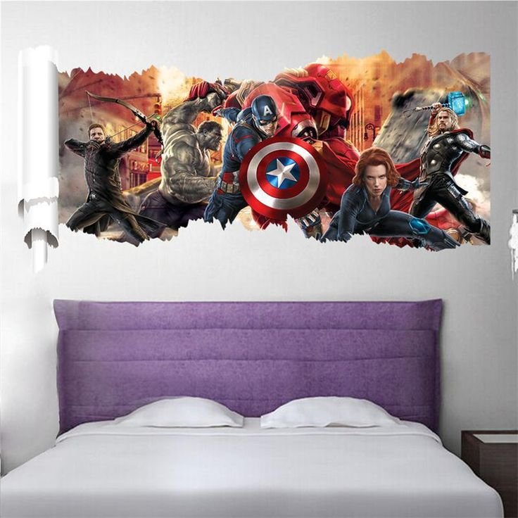 90*50cm newest impression 3D cartoon movie the Avengers Captain home decal wall sticker/boys love kids room decor child gifts