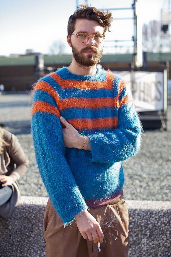 Blue + Orange stripes…Florence - fashion streetstyle men