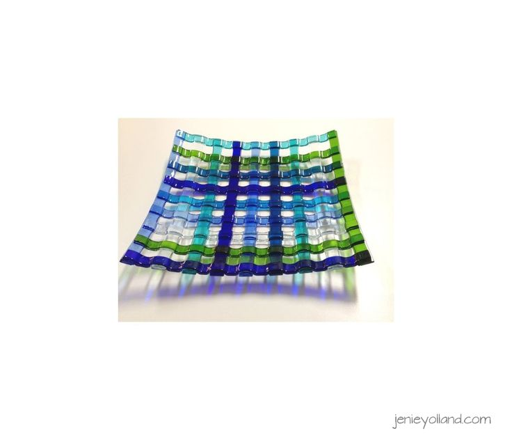 Blues, turquoise, seagreen, aqua and moss green woven centrepiece 40cms x 40cms by jenie yolland