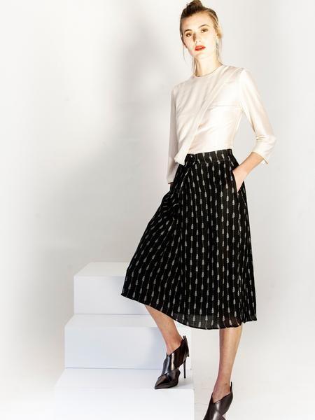 Beige day to night silk blouse / Black print midi skirt